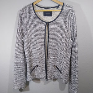 Maison Scotch Tweed Open Front Cardigan Jacket